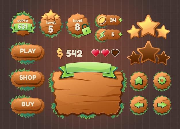 Design for kompletter satz von popup-spielen, symbolen, fenstern und elementen für das erstellen mittelalterlicher rpg-videospiele Kostenlosen Vektoren
