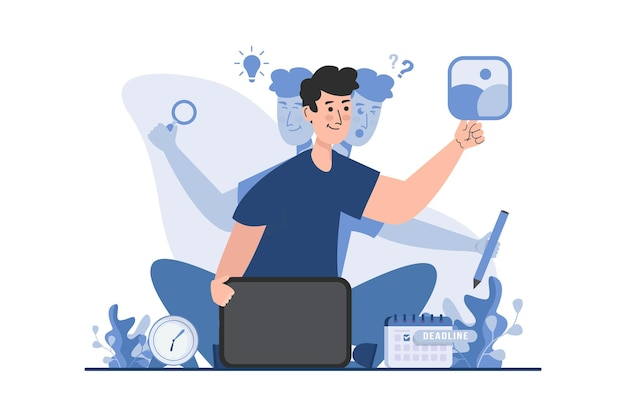 Design-freiberufler mit multitasking-illustrationskonzept