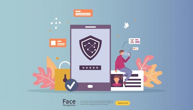 Design für die datensicherheit der gesichtserkennung. biometrisches gesichtserkennungssystem, das auf dem smartphone scannt.