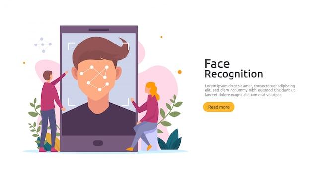 Design für die datensicherheit der gesichtserkennung. biometrisches identifikationssystem für das gesicht, das auf dem smartphone scannt.