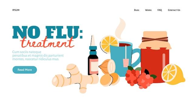 Design für die website mit einer reihe von elementen für die behandlung des grippevirus zu hause