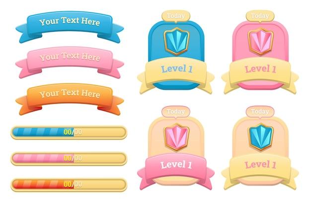 Design für einen kompletten satz von level-button-spiel-popup-fenstern und elementen des spiels