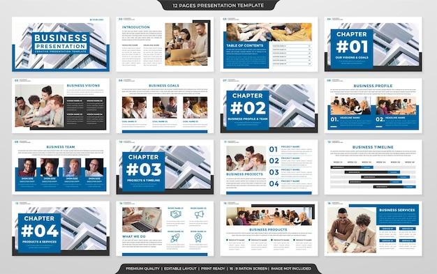 Design für geschäftspräsentationsvorlagen mit minimalistischem stil und modernem layout