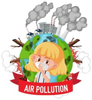 Design für stop-verschmutzung mit mädchen mit maske