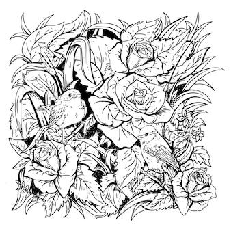 Design gezeichneter schwarzweiss-illustrationsvogel und rose in naturprämie