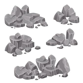 Design-gruppen von felsen und steinen boulders