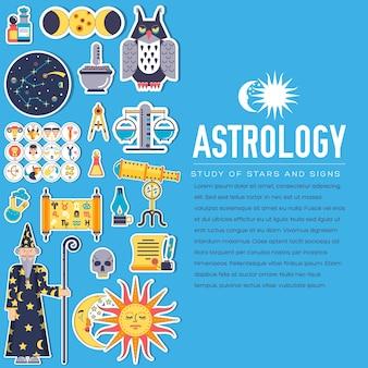 Design-illustrationssatz der astrologiehausikonen