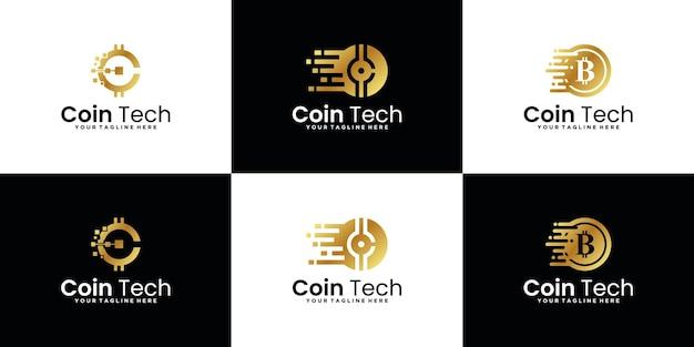 Design-inspirationskollektion für technologiemünzen-logos