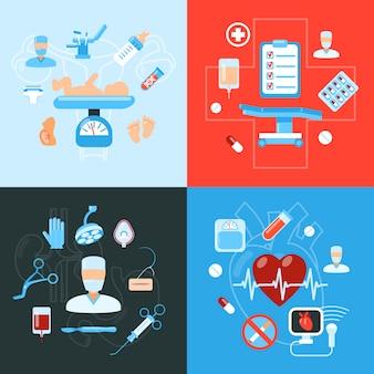 Design-konzept der medizinischen ikonen der chirurgie