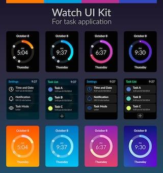 Design-konzept des mobilen uhr-ui-kits mit flacher illustration der farben