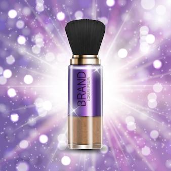 Design-kosmetik-produkt-puder-schablone für anzeigen oder zeitschriftenhintergrund