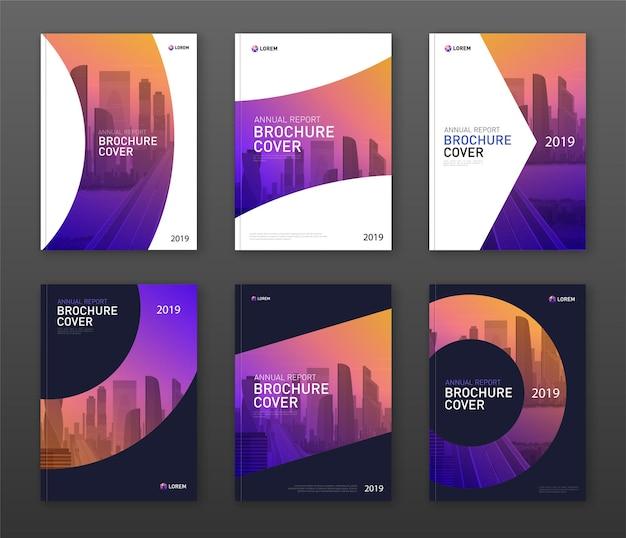 Design-layout-set für broschürenabdeckungen für unternehmen und bauwesen.