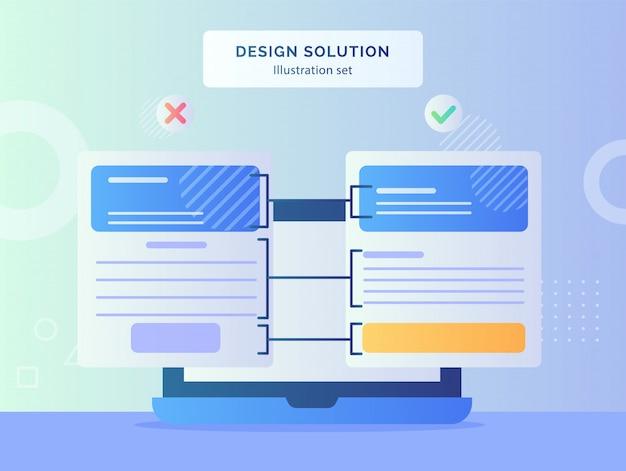 Design-lösungskonzept mit computer-laptop-bildschirm und design-layout mit modernem, flachem stil