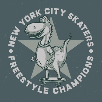 Design-logo des dinosauriers auf dem skateboard