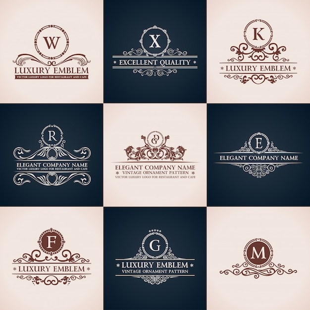 Design logo set. elegante dekorelemente des kalligraphischen musters