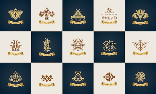 Design logo set elegante dekorelemente