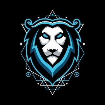 Design mit blauem löwen