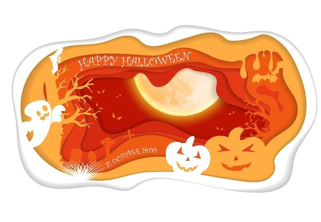 Design mit kürbis auf dem friedhof. fröhlicher halloween-papierkunststil. vektorgeschnittene abbildung.