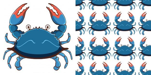 Design mit nahtlosem muster blaue krabbe