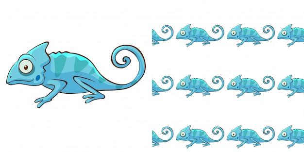 Design mit nahtlosem muster blaues chamäleon