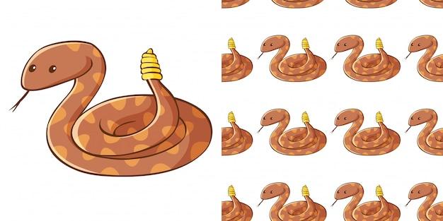 Design mit nahtlosem muster braune schlange