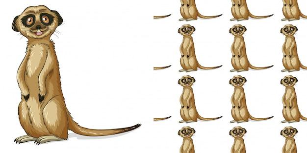 Design mit nahtlosem muster erdmännchen