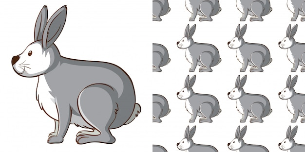 Design mit nahtlosem muster graues kaninchen