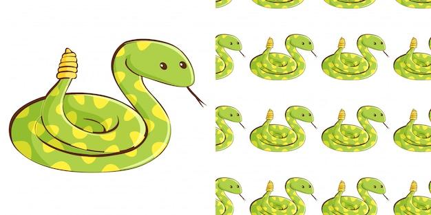 Design mit nahtlosem muster grüne schlange