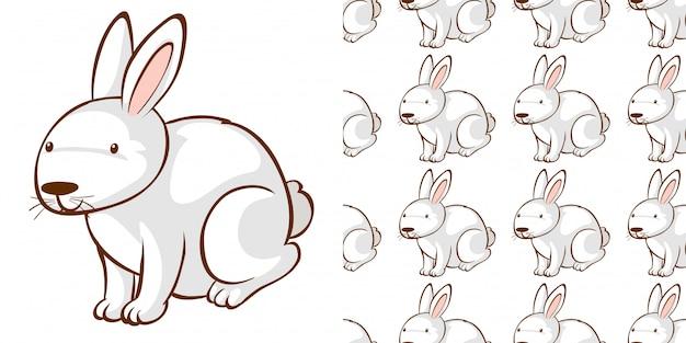 Design mit nahtlosem muster weißer hase
