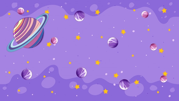 Design mit planeten auf lila
