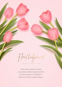 Design mit realistischen tulpen auf rosa hintergrund