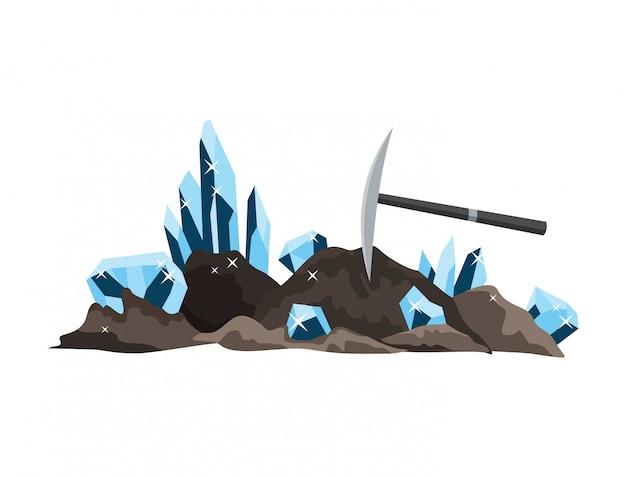 Design natürlicher ressourcen. nationale schatzedelsteine. ausrüstung für die alte hochbergbauindustrie