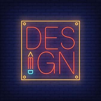 Design-neon-schriftzug auf tablet. werbung.