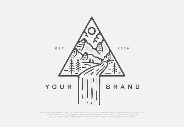 Design premium natur mit line art style logo