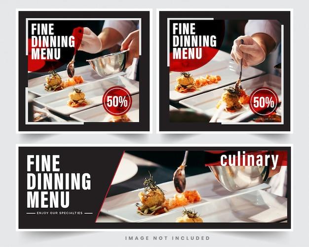 Design restaurant banner für soziale netzwerke, vorlage für werbung
