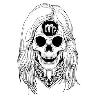 Design schwarzweiss hand gezeichnete illustration jungfrau schädel tierkreis