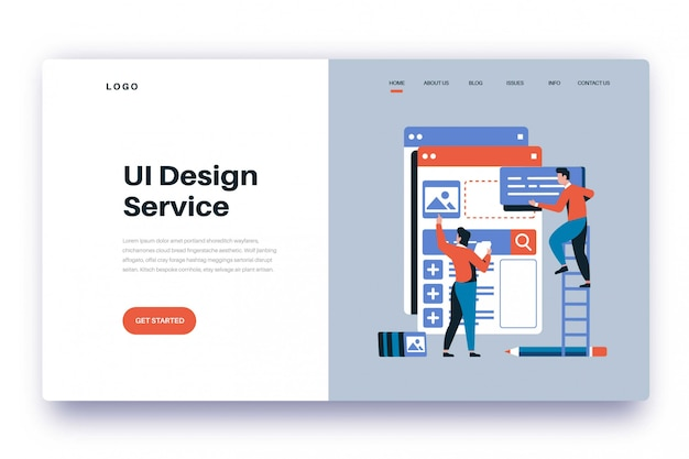 Design-service für die zielseiten-benutzeroberfläche