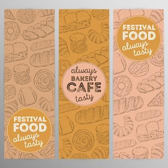 Design set bäckerei cafe.hand gezeichnete grafik.