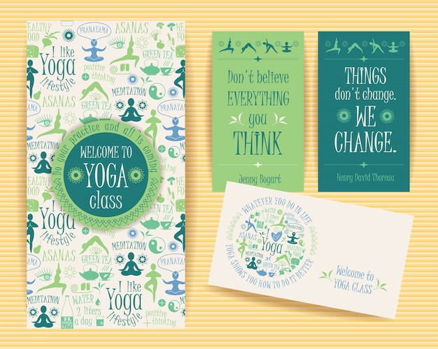 Design-set für yoga-unterricht