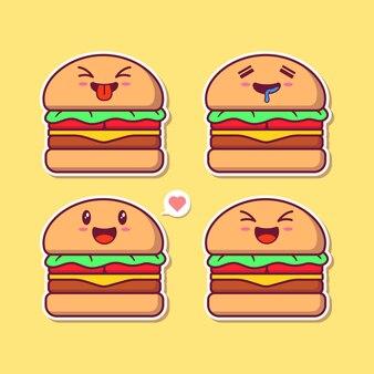 Design-set von niedlichen hamburger-maskottchen emoji.
