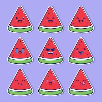 Design-set wassermelonen-maskottchen emoji.