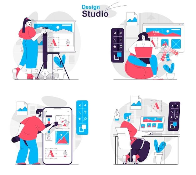 Design-studio-konzept-set designer zeichnen bilder layout-elemente wählen farben