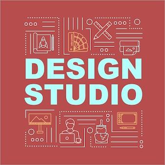 Design-studio-wortkonzepte-banner. inhouse-firmenarbeit. remote-arbeitsplatz. infografiken mit linearen symbolen auf rotem hintergrund. isolierte typografie. vektorumriss rgb-farbabbildung