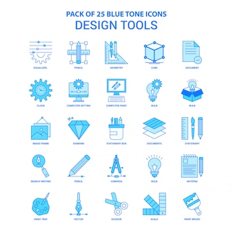 Design-tools blau-ton-icon-paket