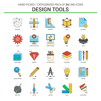 Design-tools flache linie icon-set