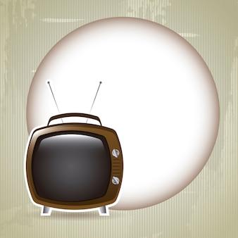 Design-tv über mond hintergrund vektor-illustration