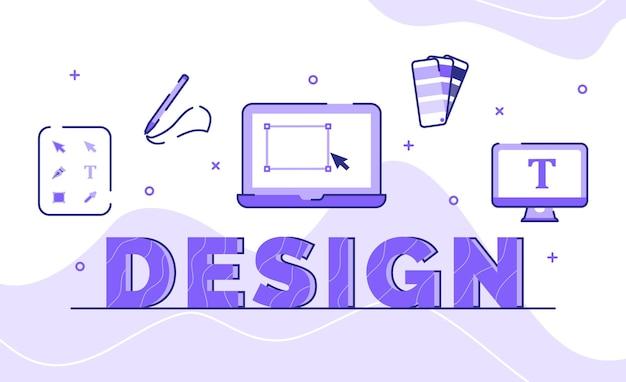 Design-typografie-wortkunsthintergrund der gezeichneten form der symbolwerkzeugpalettenfarbe mit umrissstil
