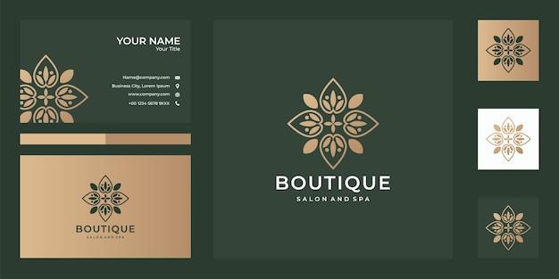 Design und visitenkarte des boutique-logos, gute verwendung für spa-, boutique-, spa- und modelogo-unternehmen