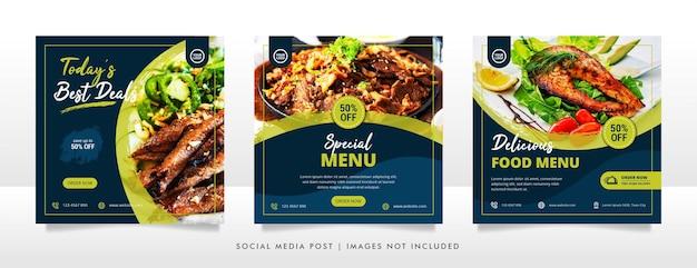 Design- und werbebanner-designvorlage für lebensmittel in sozialen medien
