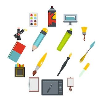 Design- und zeichenwerkzeugikonen eingestellt in flache art